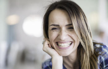 Happily smiling woman